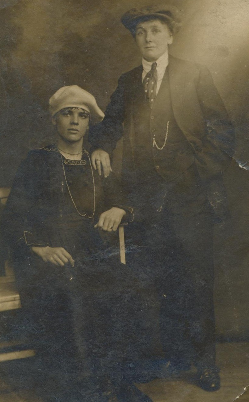 My Great Grandad George Hough and 'Cousin Gladys' swapping clothes :D ca 1920s