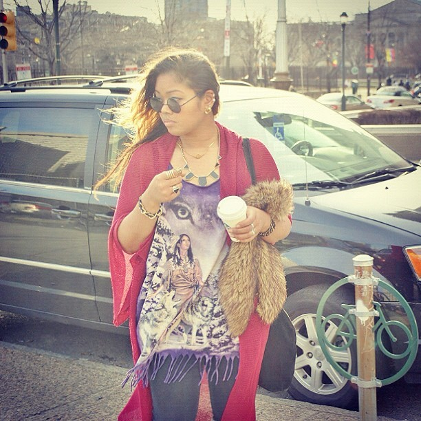 #tbt January 2012     looking for new #vintage to sell #fur #fringe #red @angie_rox (Taken with Instagram)