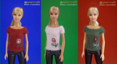 Barbie doll in 3 hand knitted mohair floral top in different colors