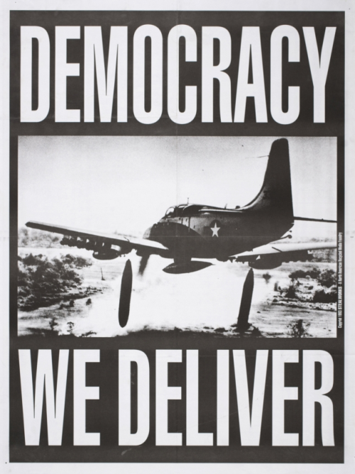 """Democracy - We Deliver,"" John Yates, 1993. From the current exhibit at the Oakland Museum of California: All of Us or None: Social Justice Posters of the San Francisco Bay Area"