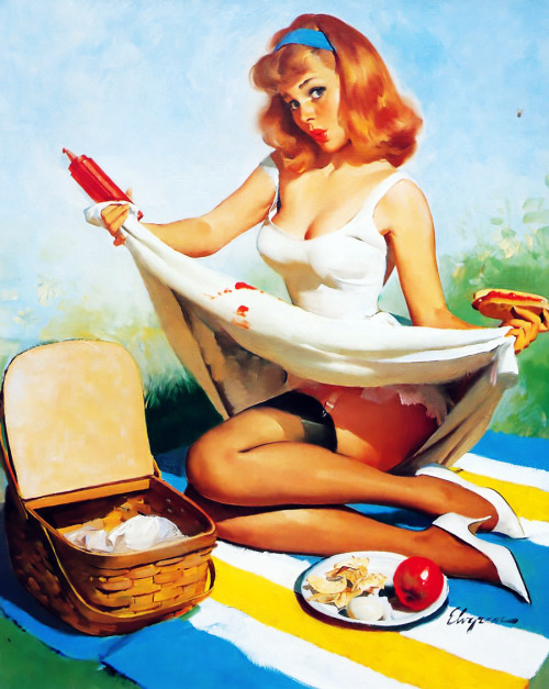 "vintagegal:  ""Red, White and Blue"" by Gil Elvgren, 1966"