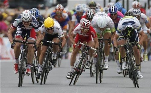 Stage winner Andre Greipel of Germany, left, Mark Cavendish of Britain, Samuel Dumoulin of France, Tom Veelers of The Netherlands, and Matthew Harley Goss of Australia, from left to right, sprint towards the finish line of the fifth stage of the Tour de France cycling race over 196.5 kilometers (122 miles) with start in Rouen and finish in Saint-Quentin, France, Thursday July 5, 2012. (AP Photo/Laurent Rebours) (via ESPN Photo Wire - ESPN)