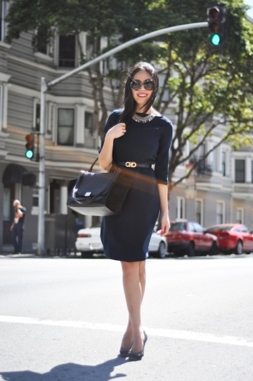 BeLighter Street Style: Lady Like Wearing: Dress: COS; Shoes: Chloé; Bag: Celine Trapeze; Belt: Vintage Ferragamo; Sunglasses: Prada