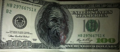 Big Foot on $100 Bill The missing link in the evolution of this particular specie.