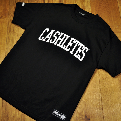 CASHLETES ARCH T-SHIRT (BLACK) $30.00 6 oz. 100% Cotton. Front screen printed graphic. Double-needle bottom hem and sleeves. Additional logo prints on sleeve. Preshrunk to minimize shrinkage.