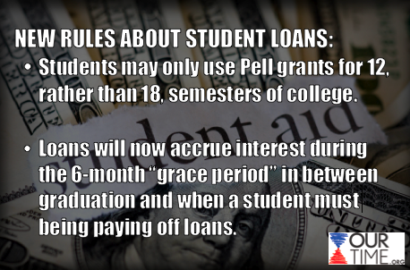 Did you know that Congress' extension of low student loan rates has limited students to using Pell grants for only 12 semesters?  REBLOG to spread the news and LIKE to share your thoughts!   For more translations, go to www.ourtime.org!