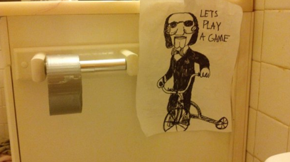 collegehumor:  Jigsaw Replaces Toilet Paper with Duct Tape I myself prefer Scrabble…but this seems like an acceptable alternative.