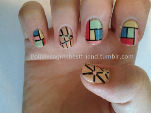 An easy to do geometric. The perfect design for those of you wanting to practice straight lines!  The colors in this photo are off quite a bit. For whatever reason the light just did not want to cooperate.  Colors Used:  OPI - Gargantuan Green Grape Sinful Colors - Unicorn L.A. Colors Art Deco  - Light Pink L.A. Colors Art Deco  - Dark Pink L.A. Colors Art Deco  - Light Blue L.A. Colors Art Deco  - Black