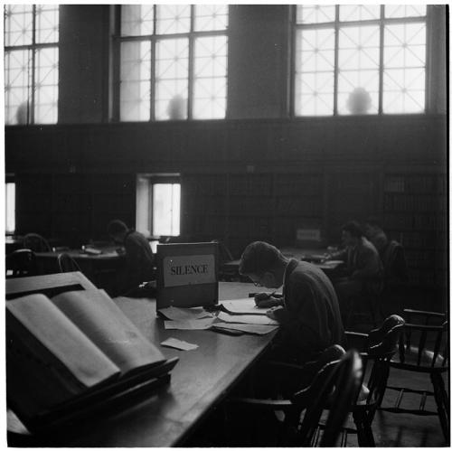 Columbia University, Students in the library, 1948. by Stanley Kubrick