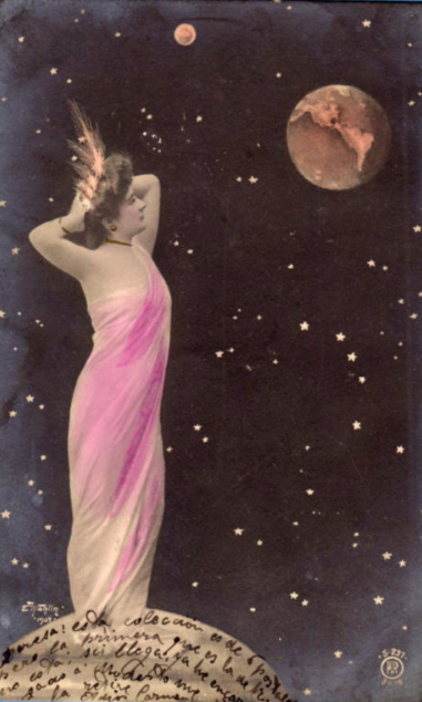 maudelynn:  Lady Moon admiring the Earth turn of the century postcard