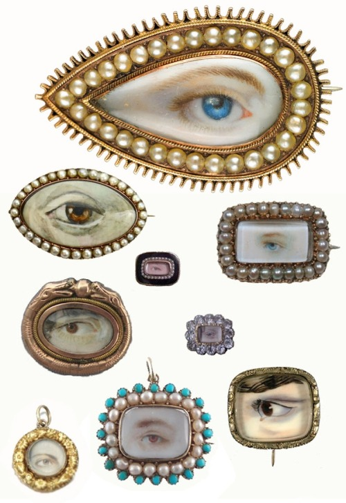 "lulufrost:  Lover's Eyes ""The eye miniature was a mysterious art form, popular for a brief moment in the late 1700s and early 1800s among well-to-do families"""