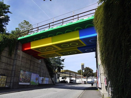 Lego Bridge Street Art by Megx