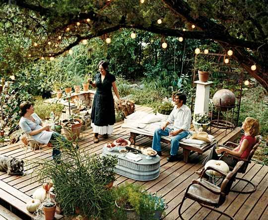 Lighting is essential for outdoor entertaining in the evenings.  Whether you opt for something simple like hanging lanterns in your trees, or something less expected like a chandelier it will create atmosphere for your gathering.