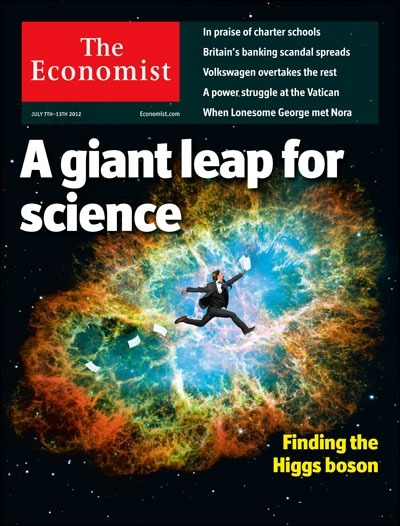 "theeconomist:  Tomorrow's cover today: after decades of searching, physicists have solved one of the mysteries of the universe.  •••••• AMAZING. But what's with the cover ""art""? Dear Economist, Next time you need imagery for science news this momentous, please email me. I'll do you one better than ""excited man jumping with papers"" stock on top of ""crab nebula"". I'm dying to, really."