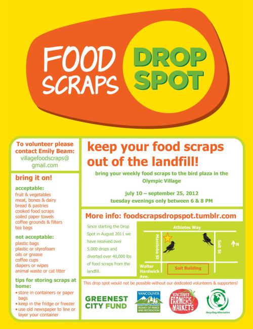 New Food Scraps Drop Spot starts next week at Olympic Village!