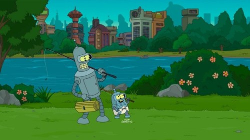 The episode is more about Bender and Ben bonding, and Bender turning out to be a doting, supportive father. It's a little sweeter than usual, and somehow, the attempts to undercut that sweetness just make the relationship even more adorable; a montage of father and son spending time together includes petty theft and bank robbery, and yet seems about as wholesome as the show ever gets. But it works, because it's fun to see Bender getting emotionally attached to anything. Ben grows up, and wants to be a bending robot just like his dad, but his programming won't allow it; so Bender allows Farnsworth to replace Ben's memory card with a bending module, allowing his son to achieve his dreams while sacrificing the boy's memories of their time together. (via)
