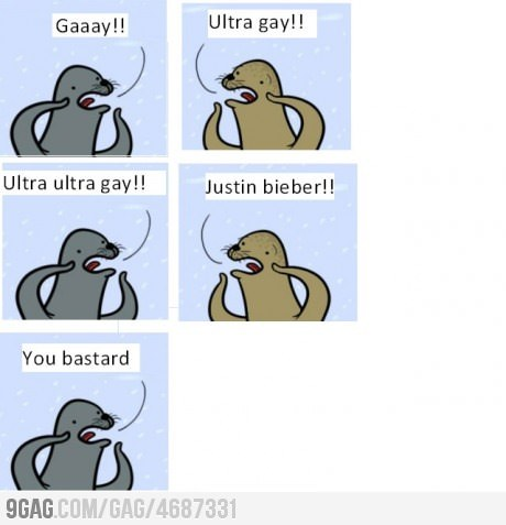 9gag:  Gay seal fight