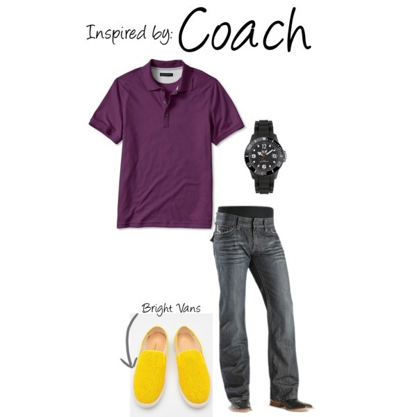 Coach (Left 4 Dead) by ladysnip3r featuring black jewelry This outfit is inspired by Coach of Left 4 Dead. I chose a purple polo paired with dark jeans and bright yellow vans. I wanted the outfit to feel fresh and preppy, instead of athletic. (Reference Image) Boot cut jeans / Ice black jewelry, $135 / Rivieras Classic in Yellow / Banana Republic Luxe Touch Cotton Solid Polo