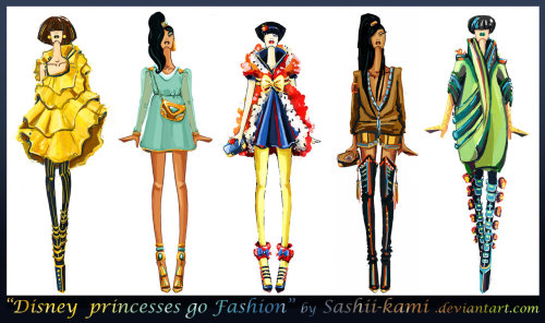 Disney princesses go fashion I by *Sashii-Kami  #DailyDeviation: 7/5/2012