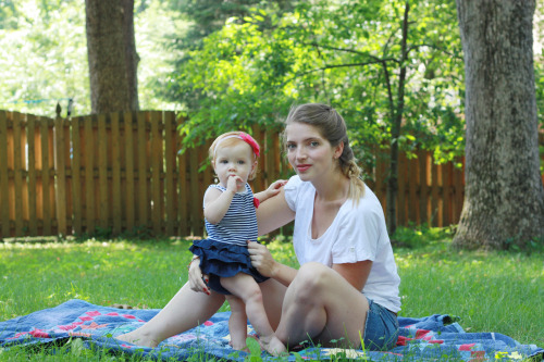 "2 posts, 1 day CB and her momma enjoying the fantastic summer sunshine. #3, her new trick: ""Show me your tummy!"""