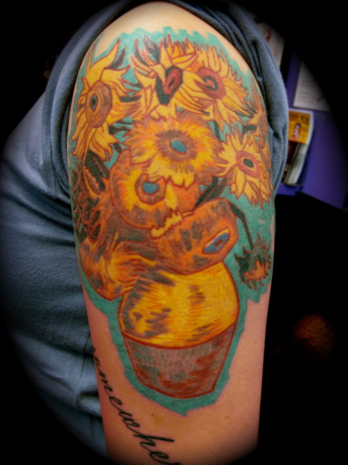 Van Gogh's Sunflowers by Graham Chaffee at:  http://www.purplepanthertattoos.com/ http://purplepanthertattoo.tumblr.com/