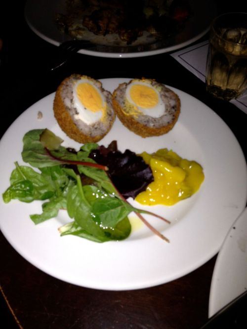 Slightly overcooked scotch egg from Old Red Lion Kennington. Photo courtesy of Gregor Poynton.