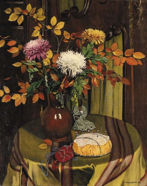 poboh: 1922 Felix Vallotton (Swiss/French Nabi, 1865-1925) ~ Chrysanthemums and Autumn Foliage