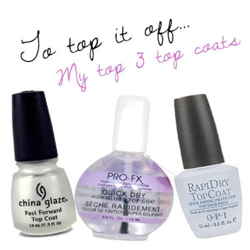 The finishing touch to any mani/pedi is to seal it with a top coat. I've tried many and it's safe to say these are my top 3! My most favourite of them all is China Glaze: Fast Forward Top Coat. I love everything about this one from the brush to the consistency. I find that it's thicker than most which I love, it gives almost a shellac look! ($6.49) My second favorite is PRO-FX Quick Dry, I haven't had this product for long but I really do love it. It's very inexpensive and you get so much product. The consistency is great and a little really does go a long way. ($4.99) Last but not least is OPI's Rapid Dry Top Coat. I love the shine it leaves but I feel as though it doesn't last as long as the other two.