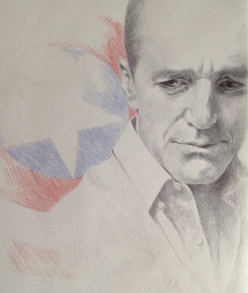 thetuxedos:  A really quick sketch of Coulson. Drawn in pen and colored pencils.