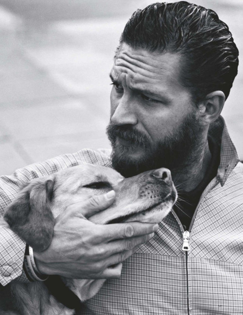 Tom Hardy with his dog Woodstock for Vogue UK, June 2012 Photographed by Alasdair McLellan