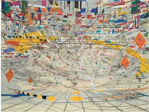 "Julie Mehretu, Stadia, 2004. ""We talk regularly now of a world increasingly out of control, beyond comprehension; this is Mehretu's world. There are disasters, certainly - among them a proliferating information culture, sublime in the scale of its urgency and apparent omniscience, that reinforces a hysteric fear of being overwhelmed, overstimulated and utterly unable to maintain a grasp on our lives. Everything is happening everywhere but we're missing it because we can only be here. However, Mehretu's 'narrative maps without a specific place or location', as she terms her paintings, allow us to be nowhere and everywhere at the same time.2 She takes the position of Walter Benajmin's famous angel of history, looking at this world as an accumulating wreckage of events, its strata piled up yet transparent, a chain of events both painterly and referential that are collapsed into a single catastrophe.3 In our despair she is our angel, offering  a view that, while utterly decontextualised, feels sympathetic. Her provision of the appearance of an overwhelming amount of data from a safe distance keeps the chaos from being threatening, even at the enormous scale at which she sometimes works."" — Peter Eleey"