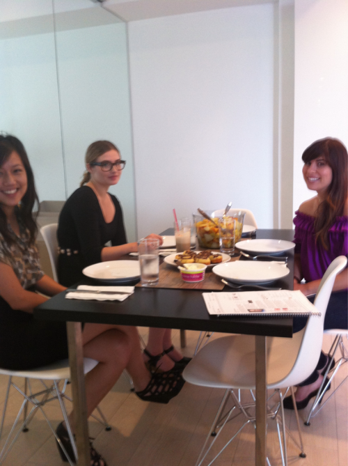 Thursday Friday breakfast with Arianne, Morgan, and Shara (left to right).  We had summer fruit salad - this summer is spoiling us with amazing amazing fruit.  We also had one of the best things I ever baked: chocolate swirl buns.