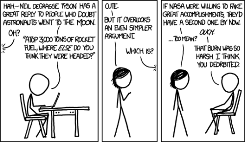 jtotheizzoe:  Moon Landing Ouch, xkcd. Ouch, ouch, ouch. What do you think, does NASA's track record of space stations, telescopes and unmanned missions since the Apollo program measure up? Anything on the horizon that particularly excites you? I'd argue that Voyager leaving the solar system is kind of a big deal. (via xkcd)