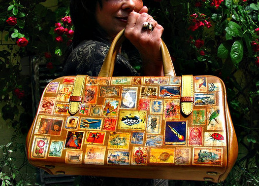 Around the World in 80 Stamps Upcycled Vintage Bag by ambrayasmin