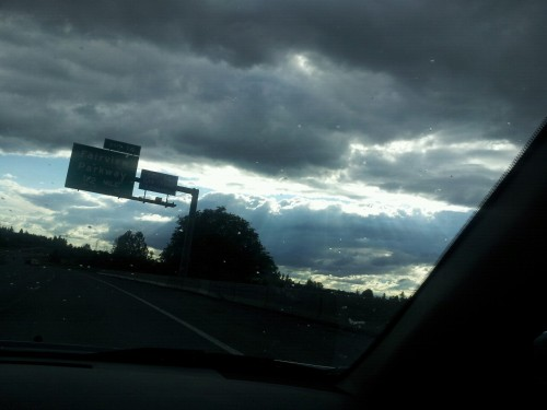 The Speare Bearer: Driving through Portland, OR, with the Petersens, heavenly sky,  06/23