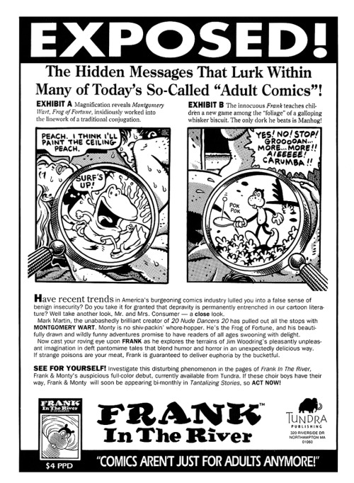 Promotional ad for Tantalizing Stories Presents Frank in the River by Jim Woodring and Mark Martin, 1992.