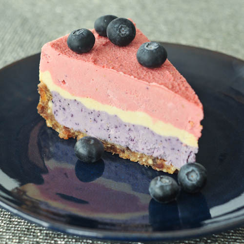 triple berry raw cheesecake.