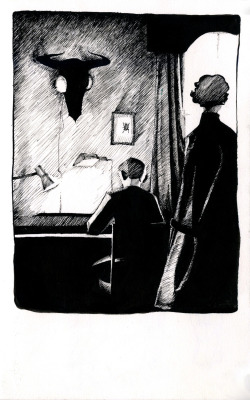ottery-kisses:  A 221B scene. Done with dip pen and ink in my sketchbook