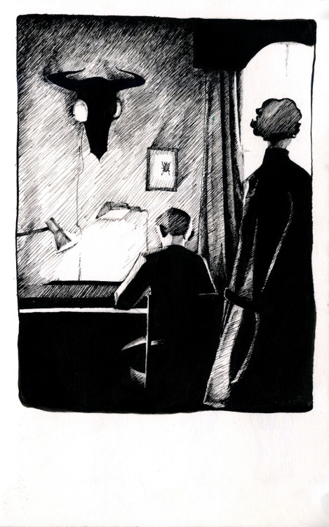 idontfeellikesleeping:  ottery-kisses:  A 221B scene. Done with dip pen and ink in my sketchbook  asdfghjkl; lovely!