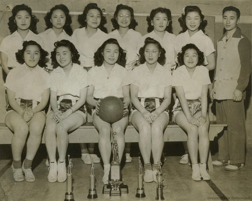 The Girl Reserves Nisei basketball team of Portland, Oregon, circa 1940.