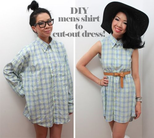 truebluemeandyou:  DIY Mens Shirt to Cut Out Dress Tutorial from Syl and Sam at Chictopia here. If you've been to Salvation Army or Goodwill the men's dress shirt section is HUGE. *Two other men's shirts' restyles I really liked are posted here: truebluemeandyou.tumblr.com/tagged/mens-shirt