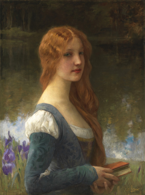 fleurdulys:  Portrait of a Lady in a Lakeside Setting - Charles-Amable Lenoir