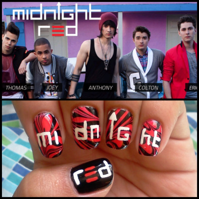 "I did some Midnight Red inspired nails, and I'm pretty pleased with them!   Midnight Red is a ""boyband,"" but don't let that discourage you from checking them out! They've got fantastic vocals, they dance, and they truly are a great group of guys who know how to put on a show! Their music is fun and just makes you want to get up & dance!   Do yourself a favor & check out their single Hell Yeah on YouTube, and if you like you can get it on iTunes & follow them on twitter @ItsMidnightRed!"
