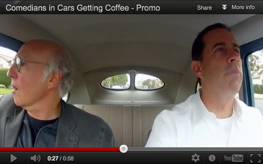 @JerrySeinfeld, in vintage cars, with comedians, going to get coffee…THAT's a web series! Or at least a pitch for a web series, for which @Crackle has unleashed a mildly amusing, if minimalist, trailer here. What do you think? Like it?