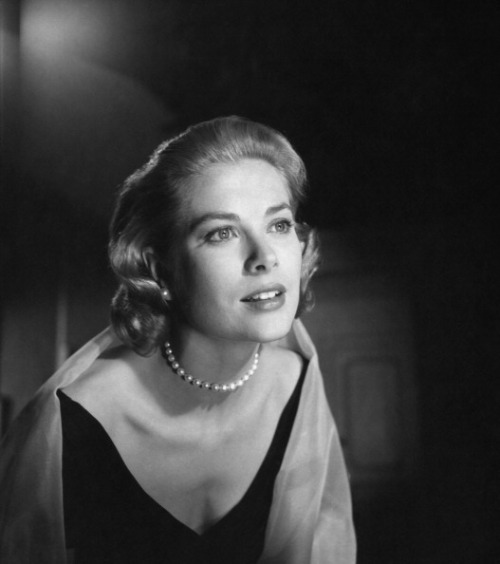 "graceandfamily:  Actress Grace Kelly poses for a portrait on the set of the Paramount Pictures movie ""Rear Window"" in November 1953 in Los Angeles, California."