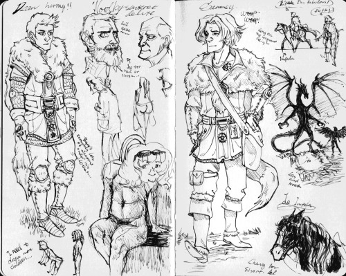 Some people doodles and more of that fantasy AU. Sam and Dean are dragon hunters while Cas is a dragon rider. A storm causes Cas and his dragon Novak to crash not too far from the brothers. and then they all have gay sex ok that last sentence was stupid but it's still gay