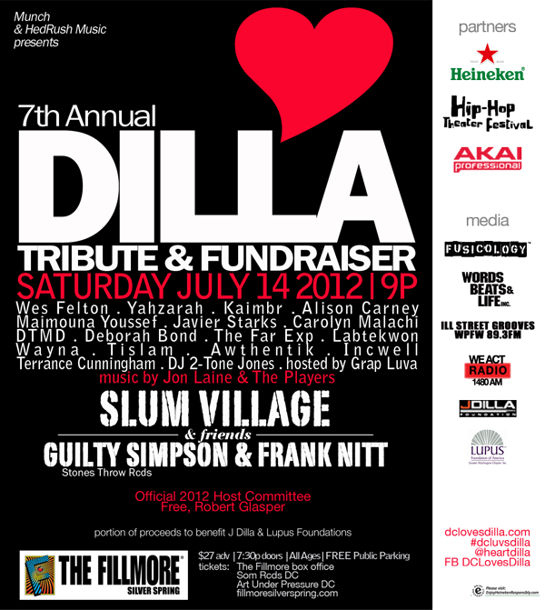 Every year the Dilla events in DC get bigger and bigger.  In other words…..Jay STILL Stays Paid.  The 7th Annual DC Loves Dilla celebration is going down @ The Fillmore in Silver Spring, and will feature appearances by Slum Village & Guilty Simpson.  Get your tickets now.TURN IT UP!