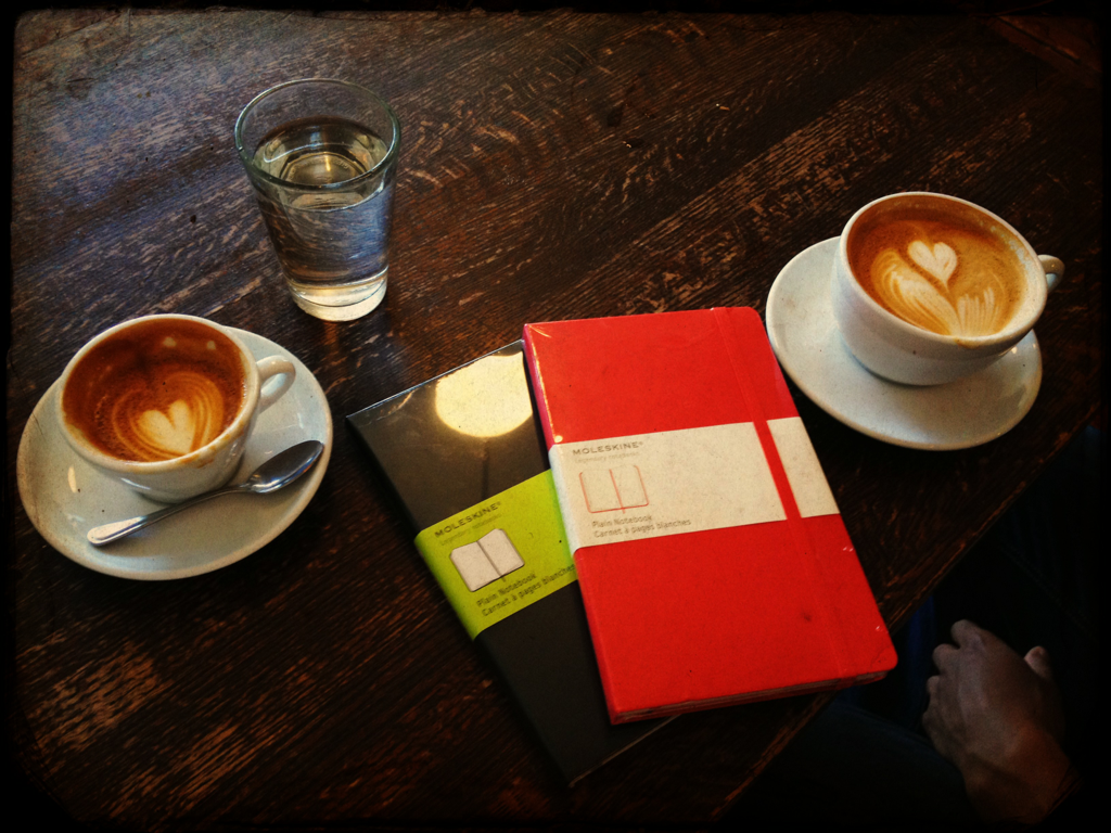 His and hers. New moleskines and ritual coffee. Life is great!