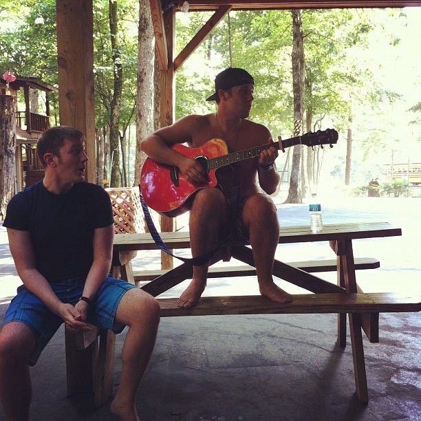 playing the guitar like a stud! hahahah (Taken with Instagram)