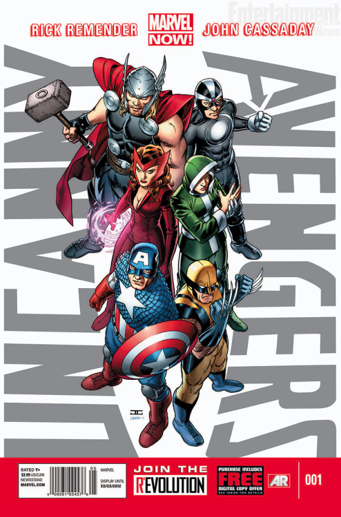 thereisaheroinallofus:  crashbaby:  Uncanny Avengers #1  Cover By John Cassaday  I like the costumes, especially Wanda's, but I don't know how interested I am in this roster…  Um… what is Rogue wearing? Seriously. The boxy costume? It's making a comeback and without even the cloak?  So disappointed.